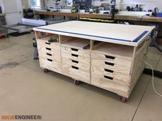 Inspiration from the Paulk workbench, the DIY workbench by Jen Woodhouse. Outfeed table for my table saw as well as a clamping/assembly workstation.