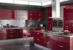 cocina  rojo y gris