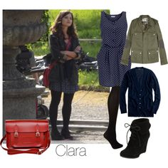 Clara by glorwen on Polyvore featuring Love, J.Crew, Zadig & Voltaire, Debenhams, Very Volatile, Zatchels, Coleman, s7, doctor who and jenna louise coleman