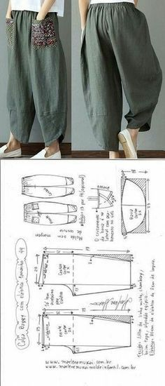 Baggy pants with elastic waistband DIY - shaping, cutting and stitching - Marlene Mukai . - Baggy trousers with elastic waistband DIY – shaping, cutting and stitching – Marlene Mukai – - Fashion Sewing, Diy Fashion, Ideias Fashion, Dress Fashion, Fashion Outfits, Sewing Pants, Sewing Clothes, Dress Sewing Patterns, Clothing Patterns