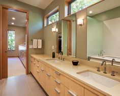Intriguing Lake House Design with Unique Architectural: Neutral Bathroom Modern Wooden Bathroom Vanity Farquar Lake Residence