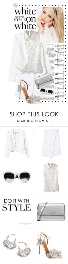 """""""White on White.. So Classy"""" by shortyluv718 ❤ liked on Polyvore featuring Silvana, Oris, Rebecca Taylor, Tory Burch, Ralph Lauren, Michael Kors, Dorothy Perkins, Aquazzura, lace and WhiteOnWhite"""