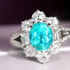 ブラジル産パライバトルマリン2.45ct ダイヤモンド2ct プラチナ リング(指輪) paraiba tourmaline    http://www.rejou.jp/?pid=96711051
