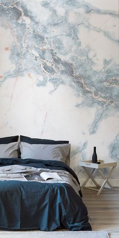 wallpapers | Deep Blue Clouded Marble Wall Mural | Murals Wallpaper