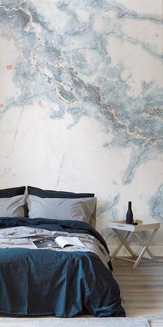 wallpapers | Deep Blue Clouded Marble Wall Mural | Murals Wallpaper