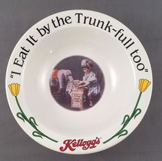 Kellogg's Collector Cereal Bowl Ceramic I Eat It By The Trunk-Full Too #1 of 4  | eBay