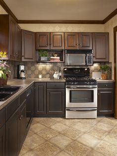 Hickory Floors Cherry Cabinets Black Appliances And Light Floor And Black Sink Kitchen Remodel Ideas Pinterest Cherry Cabinets