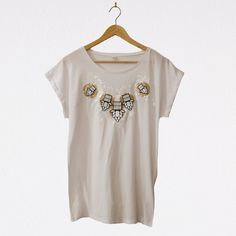 Your place to buy and sell all things handmade Organic Cotton T Shirts, Gold Fabric, White Vinyl, Bold Prints, Baby Wearing, Cover Design, Fancy, T Shirts For Women, How To Wear