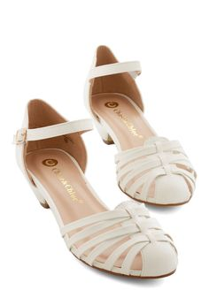 Shop the chic selection of special occasion shoes at ModCloth! From sparkles and rhinestones to sleek patent leather, find shoes for your special night. Ankle Strap Flats, Strappy Shoes, Shoes Heels, Flat Shoes, Vintage Heels, Retro Vintage, Special Occasion Shoes, Retro Shoes, Ivoire