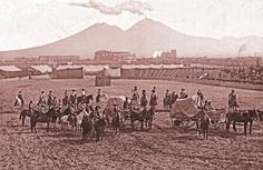 "While Buffalo Bill's Wild West performed in Naples, Italy, in 1890, volcanic activity from Vesuvius could be seen from the arena (shown here). The fireworks-like display of regular ejections foretold the volcano's severe eruption in 1906. Cody donated $5,000 to relief efforts (that same year, he also donated $1,000 to victims of the disastrous earthquake and fire in San Francisco, California).   – Courtesy ""Buffalo Bill: Scout, Showman, Visionary"" by Steve Friesen, via True West Magazine"