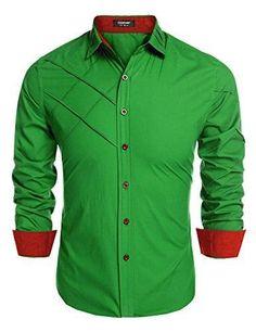 Men s Slim Fit Dress Shirt Coofandy Long Sleeve Fashion Casual Shirts Pánská  Móda 98e4b0d075