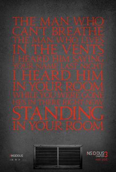 First Insidious Chapter 3 One-Sheet Is Standing in Your Room!  Read more: http://www.dreadcentral.com/news/68951/first-insidious-chapter-3-one-sheet-standing-room/#ixzz3Di4bEoRb  Follow us: dreadcentral on Facebook