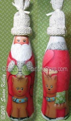 Santa Bottle ePacket - Susan Kelley - PDF DOWNLOAD #paintingpattern #paintingepattern #santabottle #santacokebottle