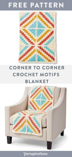 This beautiful blanket is an easy crochet project to work on while on-the-go, giving you the extra time to make this blanket as a gift. The subtle sheen and rich colors of Caron Simply Soft elevate the geometric motif of this crochet blanket. Crochet Afghans, C2c Crochet Blanket, Bag Crochet, Crochet For Beginners Blanket, Manta Crochet, Afghan Crochet Patterns, Beginner Crochet, Crochet Blankets, Granny Square Häkelanleitung
