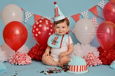 Red white and blue cake smash session Aqua stripes custom cake first birthday boy smash cake session portrait photographer Richmond Va balloons banner polka dots Blog of Recent Sessions by 11 Sixteen Photography | 11 Sixteen Photography