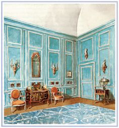 Mark Hampton, orange and turquoise watercolor interior