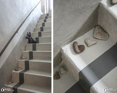 Escalier en ciment peint, maison d'hôtes 'Les Nomades Baroques' à Barjac