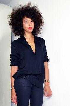#mercredie #blog #fashion #beauty #hair #blogger #mode #geneve #geneva #switzerland #suisse #chemise #acne #shirt #soie #silk #Patti #organza #trimmed #satin #twill #afro #big #hair #nappy #natural #hair #curls #curly #black #total #slim