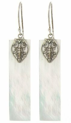 Sterling Silver Bali Mother-Of-Pearl Rectangle Drop Earrings Amazon Curated Collection. $29.00. The natural properties and composition of mined gemstones define the unique beauty of each piece. The image may show slight differences to the actual stone in color and texture.. Gemstones may have been treated to improve their appearance or durability and may require special care.