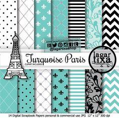 Papel Digital Fondos Paris Francia Torre Eiffel por LagartixaShop #turquoise #tiffany #paris #eiffeltower #babyshower #bridalshower #turchese #turquesa #XV #diamonds #lace #digitalpaper #clipart