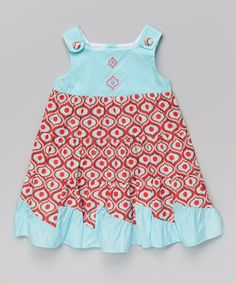 Red & Blue Arabesque Embroidered Dress - Infant, Toddler & Girls