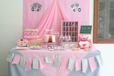 Pink Race Car Party | CatchMyParty.com #RacingParty