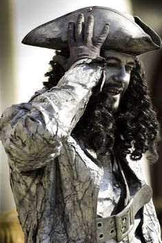 """Living Statue """"Pirate"""" by alexknip, via Flickr Living Statue, Street Artists, Beautiful Artwork, Statues, Pirates, Illusions, Halloween Costumes, Around The Worlds, Poses"""