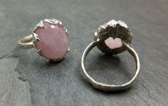 Custom Rose Quartz Cabochon Ring Recycled Sterling by byAngeline, $145.00