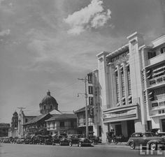 A view of Quiapo Church and LIFE Theater along Quezon Boulevard, Quiapo, Manila. Date Photographed: Photographer: Carl Mydans. Philippines Culture, Manila Philippines, Philippine Architecture, Treaty Of Paris, President Of The Philippines, The Spanish American War, Philippine Art, Filipiniana, Life Magazine