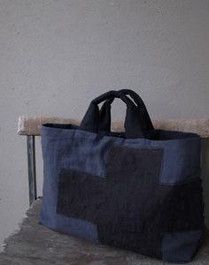 布と刺し子のコラージュbag