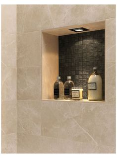 Beige Tile Bathroom, Bathroom Niche, Shower Niche, Master Shower, Master Bath, Shower Tile Designs, Toilet Tiles Design, Small Shower Remodel, Shower Lighting