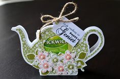 Tea Party Crafts, Craft Party, Paper Art, Paper Crafts, 3d Cards, Hostess Gifts, Tea Pots, Stampin Up, Christmas Ornaments