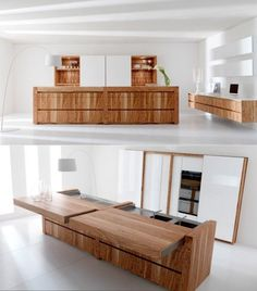 Clever - hiding the kitchen underneath sliding bench tops - could be good if you had clients visiting your place for a meeting or something #Home Garden