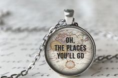 Oh The Places You'll Go Quote Necklace, Map Necklace, Dr Seuss Necklace, Traveler Necklace from Livin Freely. Saved to etsy. Cute Jewelry, Jewelry Box, Jewelry Accessories, Jewelry Making, Jewlery, Gypsy Jewelry, Jewelry Necklaces, Resin Jewellery, Long Necklaces