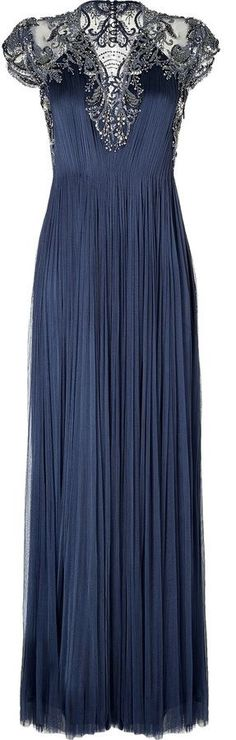 Catherine Deane Draped Silk Embellished Gown - if this was in my closet, I would find a reason to wear it! Elegant Dresses, Pretty Dresses, Blue Dresses, Formal Dresses, Beautiful Gowns, Beautiful Outfits, Fashion Vestidos, Vestido Dress, Embellished Gown