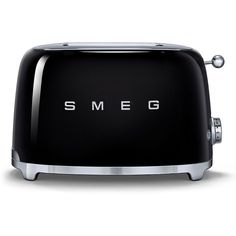 Smeg Two-Slice Wide-Slot Toaster found on Polyvore featuring home, kitchen & dining, small appliances, black, smeg, two slice toaster, 2 slice toaster, compact toaster and wide slot toasters