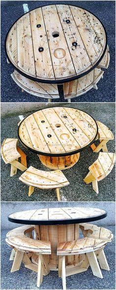 pallets wood cable spool furniture idea #palletfurnitureeasy