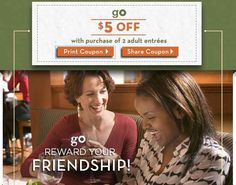 Printable Olive Garden Coupon  for 5 off 2 Adult Entree's #restaurants #coupons