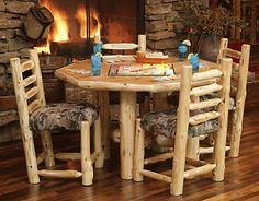 custom log dining room tables | ... Diner with Upholstered Seat | Rustic Furniture Mall by Timber Creek