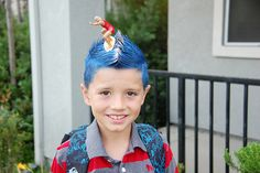 Wipe out hair theme for Crazy Hair Day at school.  Surfer dude on blue waves. Pretty cool!