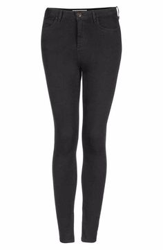 Matte-black stretch denim shapes a pair of ultra-svelte skinnies crafted with a retro-chic, ultra-high waistline.​ 91% cotton, 6% polyester, 3% elastane. Manufacturer: topshop Size: 28 Retail: $68 Condition: very good Waist Across: approx 13.5  Inches Inseam: Approx 26.25 Inches Rise: approx 10.25 Inches Material: 91% cotton, 6% polyester, 3% elastane.