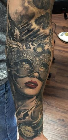 Awseome Masked Girl Tattoo