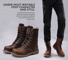 Mens Black Leather Boots Fashion Ohmo