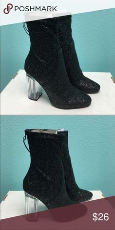 ⚡flash sale⚡Black glitter booties with clear heels Price firm. Brand new no shoebox. 26 Shoes