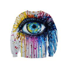 Men /Women Unisex Colorful Eye Print Hoodie / S Harajuku, Cotton Pictures, Watercolor Eyes, Galaxy Print, Fashion Painting, Pullover, 1 Piece, Hooded Sweatshirts, Winter