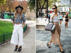 I'm all about a pair of cropped, wide legged culottes - especially when worn with a pair of sexy heels or boyish loafers. My current favorites are Whistle's lightweight silk culottes and Tibi's heavier pleated version. Both are dressy yet relaxed. Flattering without trying so hard. So what say