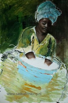 African woman washing