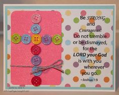 button cross... change the saying and can use as an Easter card