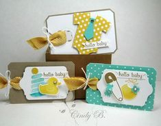 """Something for Baby, Itty Bitty Banners, Teeny Tiny Wishes, Bravo, A Dozen Thoughts  Paper:  Whisper White, Crumb Cake, In Color Designer Series Paper Stack, Daffodil Delight, Tangelo  Ink: Bakde Brown Sugar, Versamark, Tangelo Twist, Daffodil Delight  Accessories: White Embossing Powder, Baby Firsts Framelit Dies, Bitty Banner, Oval and Chalk Talk Framelits Dies, Bakers Twine, 3/4"""" Chevron Ribbon, Tasteful Trim Bigz Die"""