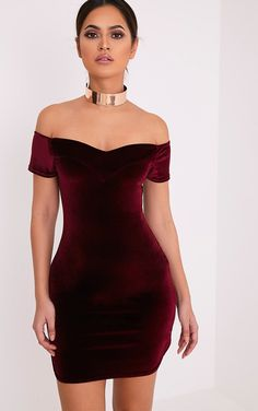 Gina Burgundy Velvet Bardot Bodycon Dress Image 1